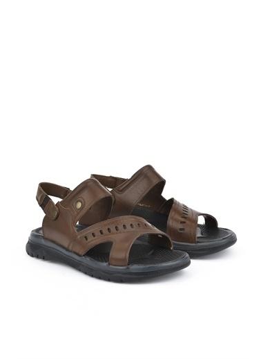 Ziya  Erkek Hakiki Deri Sandalet 111122 9013  Kahve